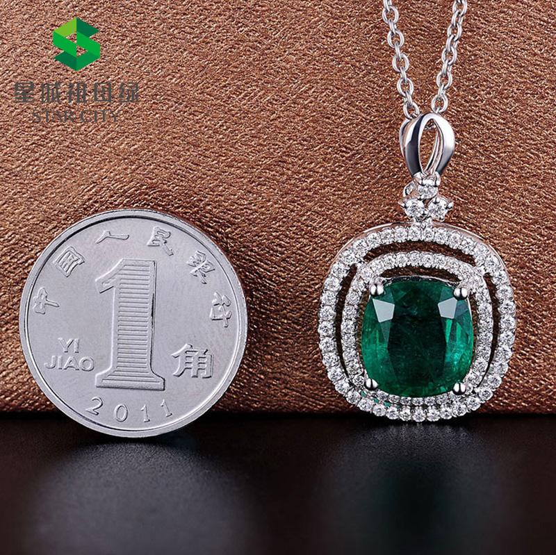 白18K金祖母绿钻石吊坠3.375ct