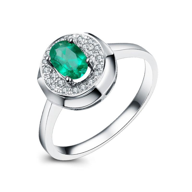 白18k金祖母绿钻石戒指0.26ct