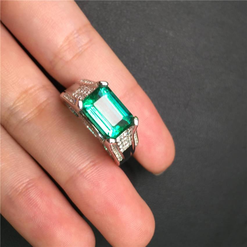 白18K金祖母绿钻戒3.6ct