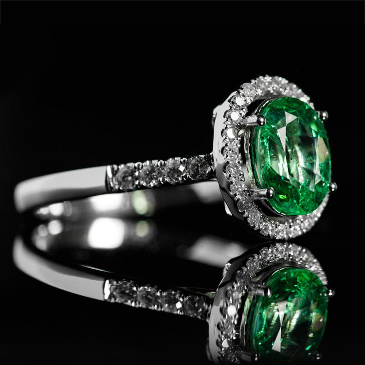 18K白祖母绿戒指0.98ct