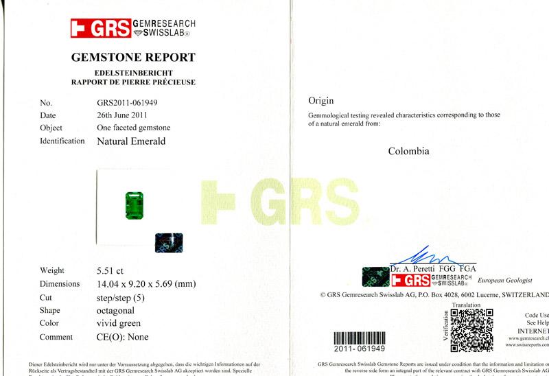 哥伦比亚 祖母绿裸石5.51克拉 GRS vivid None 无油