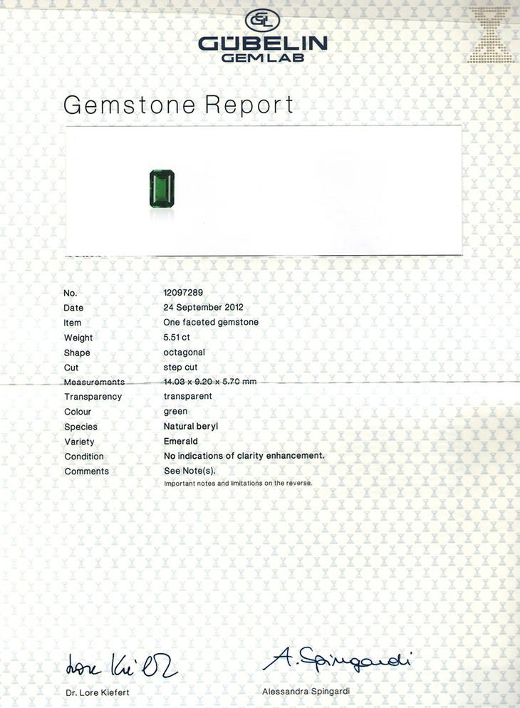 哥伦比亚 祖母绿裸石5.51克拉 古柏林证书