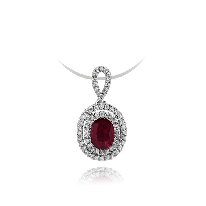 白18K红宝石钻坠1.256克拉